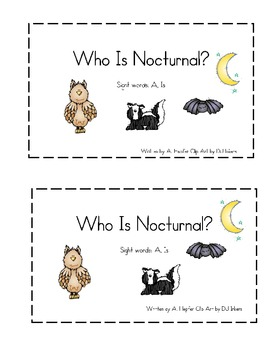 nocturnal animals emergent reader by climbing the monkey bars tpt. Black Bedroom Furniture Sets. Home Design Ideas