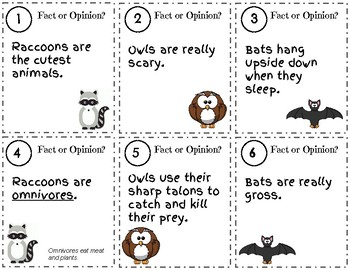 Nocturnal Animals Fact or Opinion Scoot Game