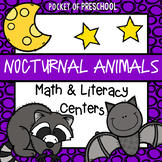 Nocturnal Animals Math and Literacy Centers for Preschool, Pre-K, and Kinder