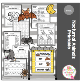 Image of: Animals Coloring Nocturnal Animals Teachers Pay Teachers Nocturnal Animals By Preschool Printable Teachers Pay Teachers