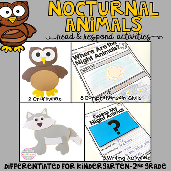 Nocturnal Animals: Reading Comprehension, Writing and Craftivities