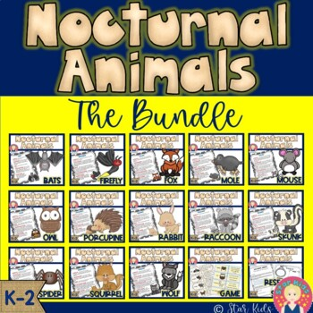 Nocturnal Animals Bundle for Kindergarten and First Grade for At Home Learning