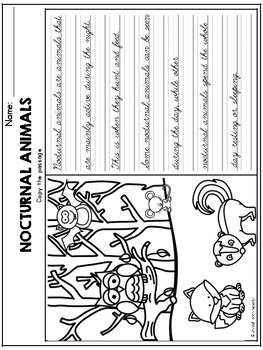 Nocturnal Animals Theme Based Handwriting Lessons (Cursive Edition)