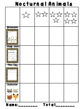 Nocturnal Animals Writing Activity