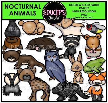 Nocturnal Clip Art Bundle {Educlips Clipart}