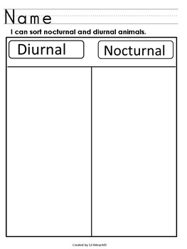 Nocturnal / Diurnal Animal Sort-Cut & Paste, Writing Fun