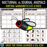 Nocturnal vs Diurnal Animals | Category Sort | Cut and Paste Worksheets