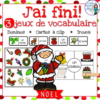 Noël:  3 Christmas Themed Vocabulary Games in French