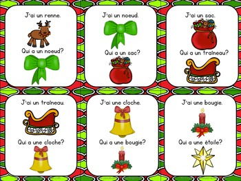 Noël:   Christmas Themed Vocabulary Game in French  - J'ai. . .Qui a. . .?