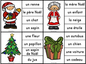 Noël - Ensemble 2 jeux d'association - French Christmas Clip Cards