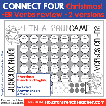 Noël - French Christmas Activity - Conjugate ER Verbs - Connect Four in a row