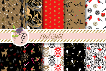Noel Gold Seamless Pattern Set. Digital paper pack.