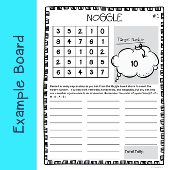 Noggle Number Boggle With Answers By Fidgety In Fourth Tpt