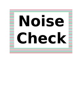 Noise Check Classroom Management Clothespin Stripes