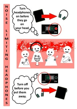 Noise Limiting Headphones Classroom Music Poster