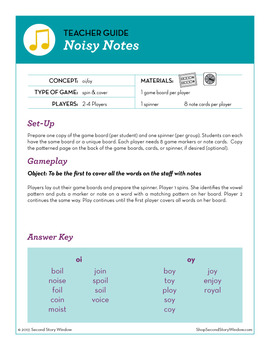 Noisy Notes oi and oy Phonics Game