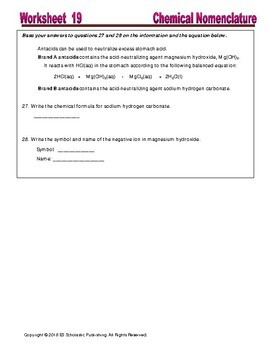 Nomanclature: Naming and Formula Writing - Worksheets & Practice Questions