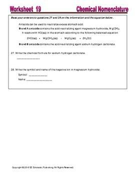 Chemical Nomenclature; Naming & Writing Formulas: Essential Skills Worksheet #19