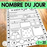 Nombre du jour - les nombres 1-20 - French Numbers