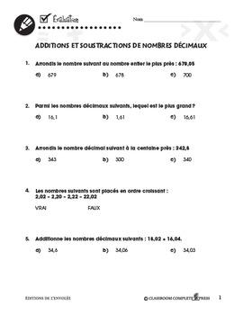 Nombre et Opérations: Additions et Soustractions de Nombres Décimaux An. 3-5