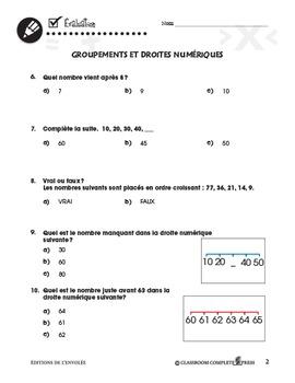 Nombre et Opérations: Groupements et Droites Numériques An. PK-2