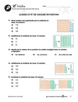 Nombre et Opérations: La Base 10 et les Valeurs de Position An. 3-5