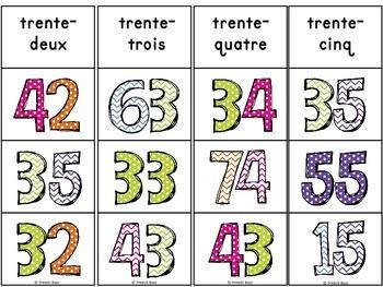 Nombres - 0-100 - jeu d'association #2 - French Numbers