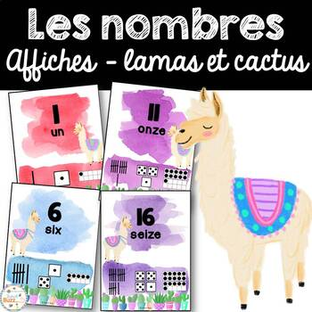 Nombres 0-20 - Affiches - French Numbers - Lamas et cactus