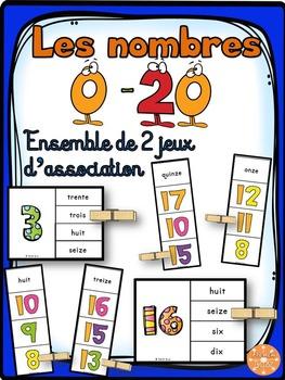 Nombres - 0-20 - Ensemble 2 jeux d'association - French Numbers