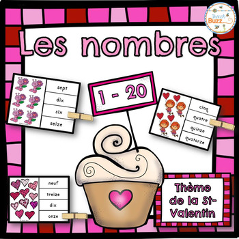 Nombres - 1-20 - Jeu d'association (Saint-Valentin) - French Numbers
