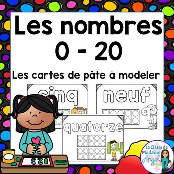 Les nombres 0 - 20:   Numbers 0 to 20 Play Dough Cards in French