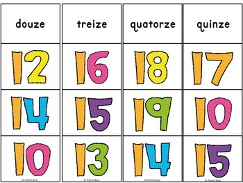 Nombres - 0-20 - jeu d'association #2 - French Numbers