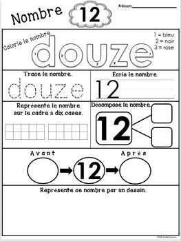 Nombres - pages d'activités        -       French number worksheets