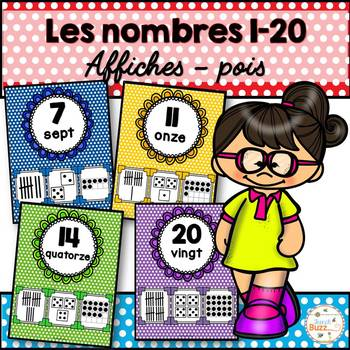 Nombres 1-20 - Affiches - Thème: à pois - French Numbers - Posters