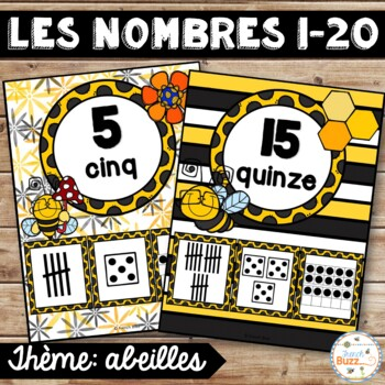Nombres 1-20 - Affiches - Thème: abeilles - French Numbers - Posters