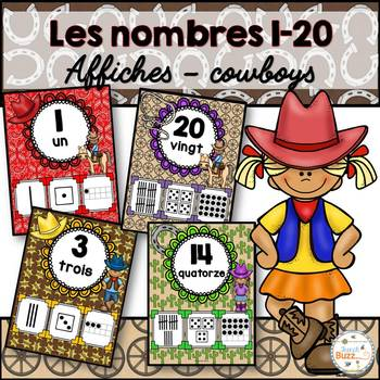 Nombres 1-20 - Affiches - Thème: cowboys - French Numbers - Posters