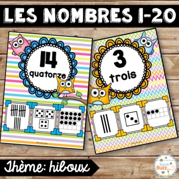Nombres 1-20 - Affiches - Thème: hiboux - French Numbers -