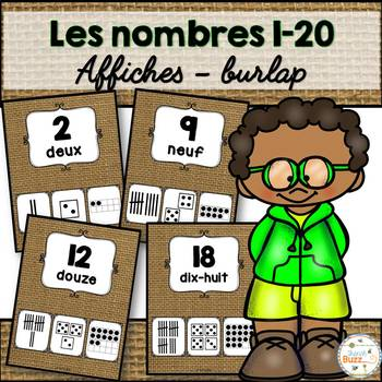 Nombres 1-20 - Affiches - French Numbers - Burlap (toile)