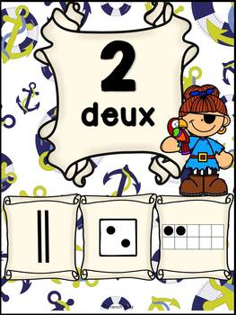 Nombres 1-20 - Affiches - Thème: pirates - French Numbers - Posters