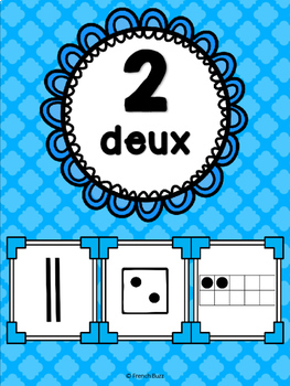 Nombres 1-20 - Affiches - Thème: quadrillage - French Numbers - Posters