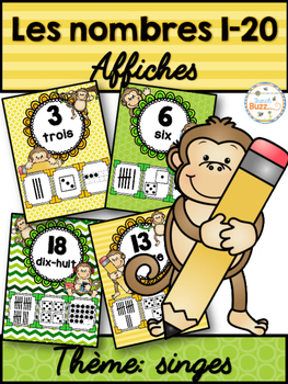 Nombres 1-20 - Affiches - Thème: singes - French Numbers - Posters