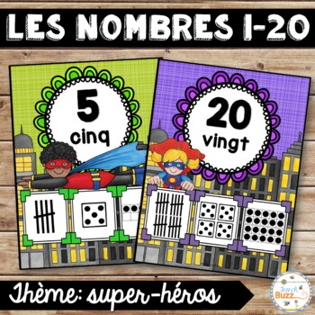 Nombres 1-20 - Affiches - Thème: super-héros - French Numb