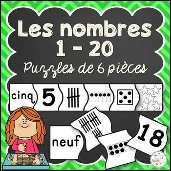 Nombres 1-20 - Puzzles de 6 pièces - French Numbers