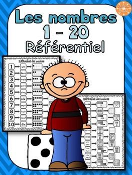 Nombres 1-20 - Référentiel 2 pages -  French Numbers