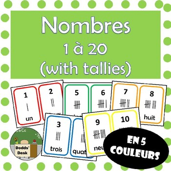 Nombres 1 à 20 cartes (Numbers 1 to 20 with tallies) French