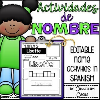 EDITABLE Name Activities in Spanish {Actividades de Nombre}