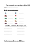 Nombres - French quiz on numbers 1 to 100