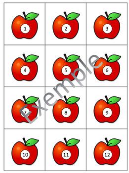 Nombres calendrier 1 à 31 pommes