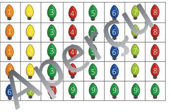 Nombres manquants - noel lumières