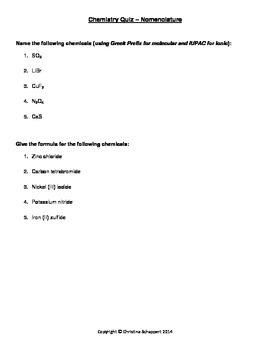 Nomenclature: Chemical naming lessons, assignment & quiz